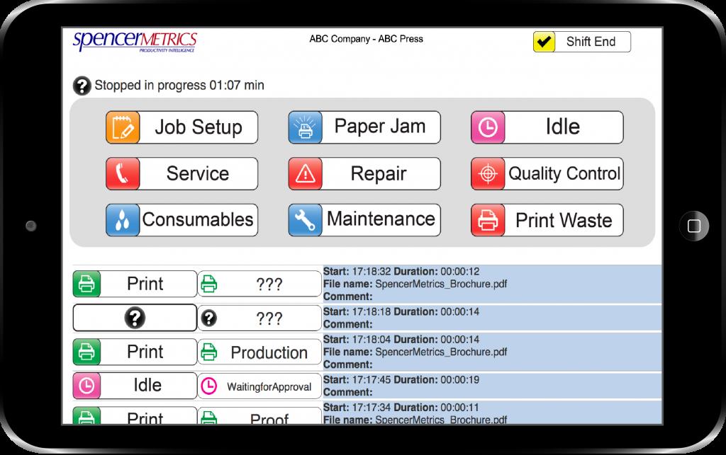 SpencerMetrics operator view of data collection on iPad