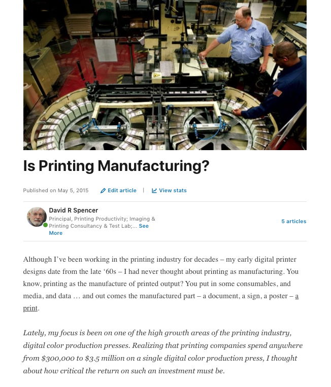 David Spencer printing blog post
